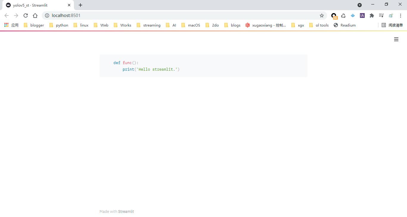 streamlit code